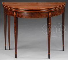 FEDERAL INLAID MAHOGANY DEMILUNE CARD TABLE.