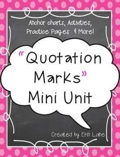 Quotation Marks Mini Unit: Activities, Anchor Charts & More! Cooperative Learning Activities, Writing Activities, Small Moment Writing, Direct Speech, 4th Grade Ela, Quotation Marks, Small Moments, Year 2, Anchor Charts