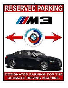 BMW M3 black reserved parking metal wall mount plate
