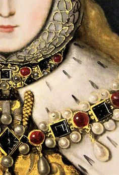 Queen Elizabeth I, Antique Jewelry, Beaded Jewelry, Vintage Jewelry, Fashion History, Fashion Art, Elisabeth I, Renaissance Portraits, Detailed Paintings, Renaissance Jewelry