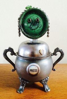 robot sculpture, robot girl, found object robot, robots, bots, robot, robot art, assemblage art robot, found objects, junk robots - Shamrock