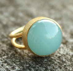 Love it! Blue Chalcedony Ring  Round  Adjustable Ring Aqua Blue by OhKuol, $47.00