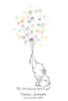 Baby Elephant holding a bundle of Balloons Fingerprint Guest Book Shower Birthday Party Art Pen Ink Custom Printable Design - Amelia Baby Name - Ideas of Amelia Baby Name - Baby Shower Fingerprint, Fingerprint Art, Baby Shower Balloons, Birthday Balloons, Elephant Template, Baby Elefant, Book Shower, Watercolor Flower, Baby Drawing