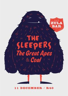 The Sleepers, The Great Apes & Coal – Furry Monster by Adam Hill #poster #monster #illustration