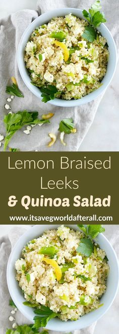 Side Dish Lemon Braised Leeks and Quinoa Salad - a delicious recipe using leeks, lemon zest and juice, parsley, quinoa, and feta cheese. This tasty vegetarian side dish is packed with flavorful and is the perfect end-of-winter side dish! Quinoa Side Dish, Vegetarian Side Dishes, Vegetable Side Dishes, Side Dishes Easy, Side Dish Recipes, Vegetarian Food, Leek Recipes, Vegetable Recipes, Healthy Recipes