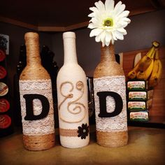 Wine bottle crafts! Initials :)