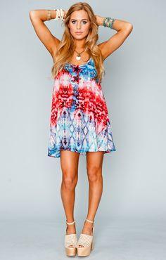 Show Me Your MuMu Bella Dress ~ Woodstock Dip Dye USA