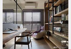 北歐風書房 Study Room Design, Design Case, Blinds, Conference Room, Divider, Floor Plans, Curtains, Flooring, Table