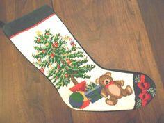 WOOL NEEDLEPOINT CHRISTMAS STOCKING GREEN VELVET TREE BEAR BALL GIFT 20    eBay Needlepoint Christmas Stockings, Green Velvet, Bear, Wool, Holiday Decor, Gifts, Presents, Bears, Gifs