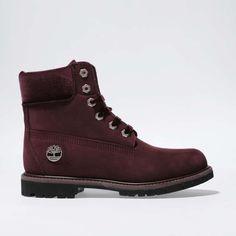womens burgundy timberland 6 inch premium jewel boots | schuh