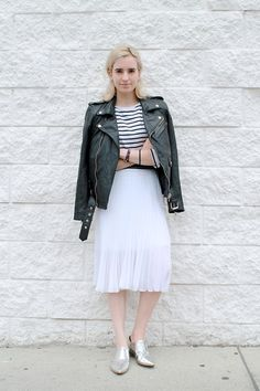 Pelechecoco Leather Biker Jacket, Unknown Striped Shirt, Topshop Midi Skirt, Forever 21 Silver Oxfords