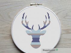 modern cross stitch pattern deer silhouette reindeer stripes