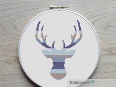 modern cross stitch pattern deer silhouette, reindeer stripes, PDF, ** instant download**