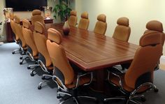 """Custom solid sapele wood conference table with yellow heart border inlay, 14' x 48""""  (509) 466-4684"""