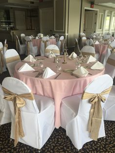 Pretty pink and camel iridescent crush linens for a wedding at It's a Master of Taste in Commerce