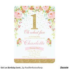 Girl 1st Birthday Invitation Floral Pink Gold | Zazzle