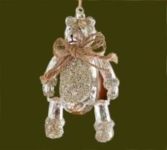 Pottery Barn German Glitter Mercury Glass Jointed Teddy Bear Christmas Ornament | eBay