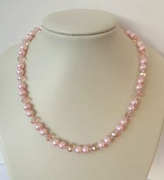 Pink pearl and ab crystal pink rondelle glass bead necklace 18.5