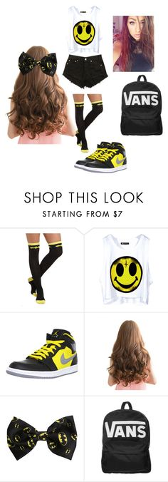 """""""Spirit Week: Crazy Socks (Batman Edition)"""" by yourfashionbabe ❤ liked on Polyvore featuring NIKE and Vans"""