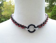 BDSM Slave Collar, Vipera Basket Chainmaille Submissive O Ring Collar, Silver, Black and Red with Black Titanium Segment Ring, 24/7 WEAR by TheCagedFlower on Etsy