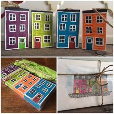 Items similar to Jellybean Row House Ornament and Artwork Gift Set on Etsy Wood Projects, Projects To Try, Painted Rocks, Hand Painted, House Gifts, House Ornaments, House On The Rock, Wooden Hand, Tissue Box Covers