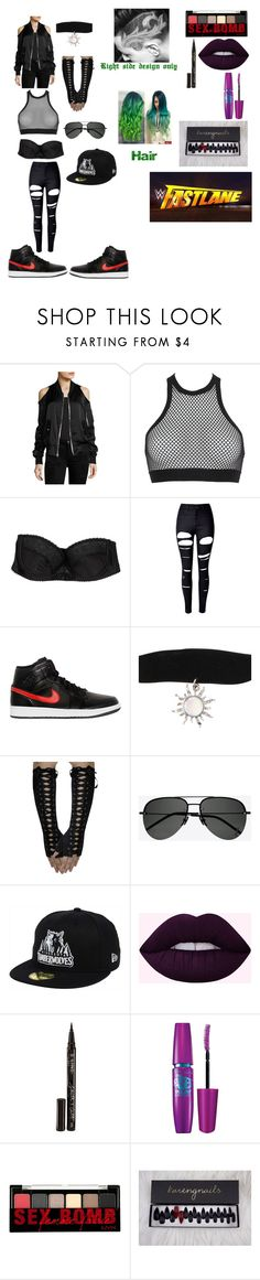 """I want whoever wins at fastlane at Wrestlemania"" by beautyria03 on Polyvore featuring RtA, Dsquared2, OuiHours, WithChic, NIKE, Hot Topic, Yves Saint Laurent, New Era, Smith & Cult and Maybelline"