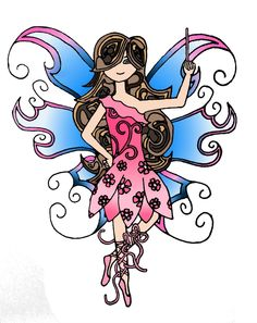 Zentangle-inspired Fairy: Mooka hair and other patterns in her dress.