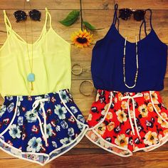 #TWINNING Tag your bestie! Pair our All Strapped Up Tank Lemon ($22.99) or Tie Back Tank Royal ($22.99) with the Floral Tulip Shorts Red/Blue ($19.99) for the perfect summer look! All found in store at #sophieandtrey! Also online // #ootd #floral #shorts #funshorts #printshorts #tropical #summer