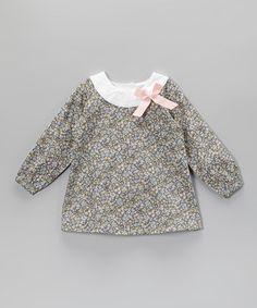 Blue Floral Bow Yoke Dress - Infant, Toddler & Girls
