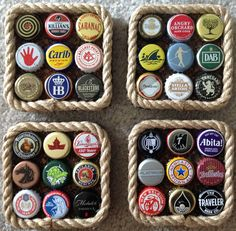 This is a set of 4 beer bottle cap coasters made with recycled caps, cork, and rope trim. This is a set of 4 beer bottle cap coasters made with recycled caps, cork, and rope trim. Bottle Cap Coasters, Bottle Cap Table, Bottle Cap Art, Beer Coasters, Bottle Cap Images, Beer Bottle Crafts, Beer Cap Crafts, Bottle Cap Projects, Diy Bottle