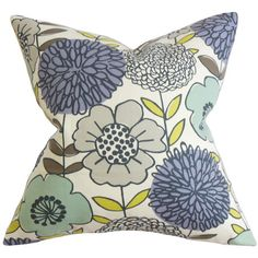 A lovely touch for your sofa, bed, or chaise, this cotton pillow showcases a down insert and a vibrant floral motif.     Product: Pi...