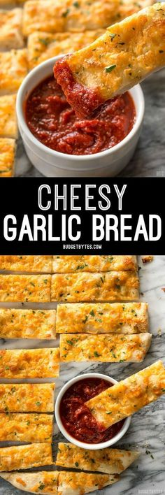 This Homemade Cheesy Garlic Bread is the real deal with homemade dough, fresh garlic, real butter, and your favorite cheese.