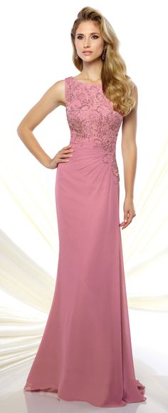 This sleeveless jersey and lace slim A-line gown features a bandeau neckline, hand-beaded lace asymmetrically cut bodice, side gathered skirt, sweep train.