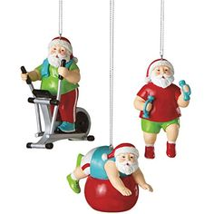 Santa Shapin' Up Workout with Exercise Bike Fitness Christmas Ornament