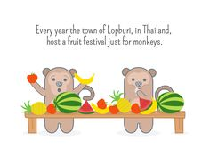 Every year the town of Lopburi, in Thailand, host a fruit festival just for monkeys