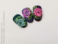 3d Nail Designs, Flower Nail Designs, Nails & Co, 3d Nails, Stone Nail Art, Special Nails, School Nails, Crazy Nails, Ideas Geniales