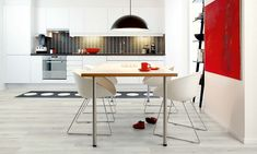 parkett-grau-hell-esszimmer-küche-teppich-rotes-wandbild-farbakzent