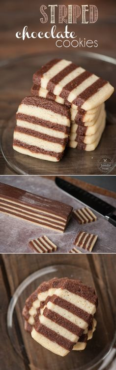 Looking for a cookie that will really impress? Everyone will love these Striped Chocolate Cookies made with a touch of peppermint, perfect for the holidays! No Bake Cookies, Cookies Et Biscuits, Yummy Cookies, Cake Cookies, Cupcakes, Fancy Cookies, Cookie Desserts, Just Desserts, Delicious Desserts
