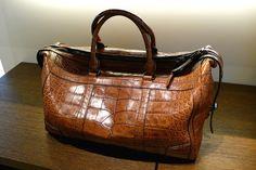 Burberry crocodile leather luggage