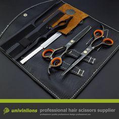 "6 ""capelli neri forbici del barbiere set clippers barbiere assottigliamento forbici parrucchiere kit kit barbiere professionali per parrucchieri"