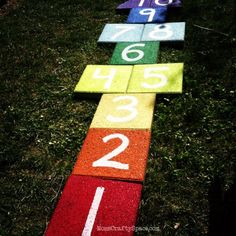 Best DIY Backyard Games - Easy DIY Rainbow Paver Hopscotch - Cool DIY Yard Game Ideas for Adults, Teens and Kids - Easy Tutorials for Cornhole, Washers, Jenga, Tic Tac Toe and Horseshoes - Cool Projects for Outdoor Parties and Summer Family Fun Outside http://diyjoy.com/diy-backyard-games