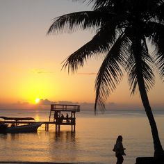 West Bay Beach Roatan at sunset...love this place. so fun to jump off that top deck