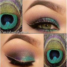 I don't like to wear a lot of makeup, but I LOVE peacock feathers. And this is adorable.