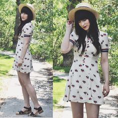 Umbrella Dress, Bc Footwear Black Sandal, Forever 21 Straw Hat