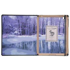 Blue Winter Pond iPad Folio Case