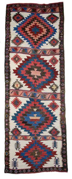 Karapinar kelim complete 14ft. 8in. x 5ft. 1in. 447 x 154 cm Turkey first half 19th century