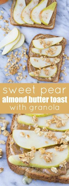 healthy pear and almond butter toast with granola and honey makes an easy breakfast or snack! healthy pear and almond butter toast with granola and honey makes an easy breakfast or snack! Healthy Breakfast Meal Prep, Healthy Snacks, Healthy Breakfasts, Pear Recipes Healthy, Vegetarian Recipes, Healthy Sides, Vegan Snacks, Vegan Breakfast, Breakfast Toast