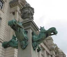 STATUES AT ENTRANCE OF THE PORT OF LIVERPOOL BUILDING (formerly the Mersey Docks & Harbor Board).