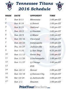 Printable Tennessee Titans Schedule - 2016 Football Season