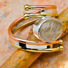 Rutilated Quartz 925 Sterling Silver Copper, ring size 8. $25.00, via Etsy.